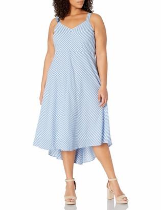 Taylor Dresses Women's Plus Size Stripe High Low Hem Midi Slip Dress