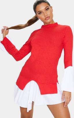 PrettyLittleThing Red Ribbed Bodycon Shirt Detail Dress
