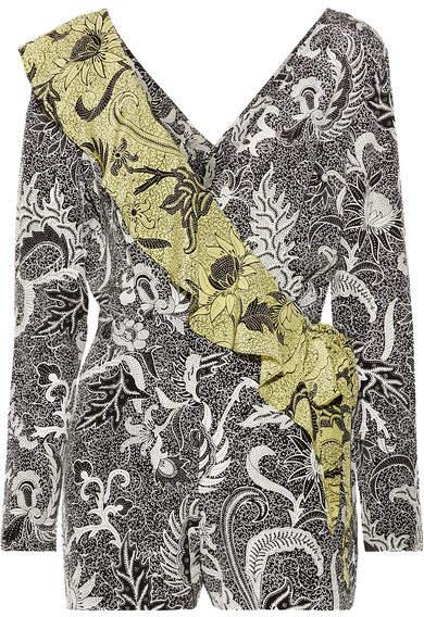 Diane von Furstenberg Ruffled Wrap-effect Printed Silk Crepe De Chine Playsuit - Pastel yellow