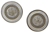 Versace Silver Tone Metal & White Shell Round Medusa Clip On Earrings
