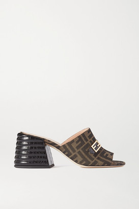 Fendi Promenade Croc-effect Leather And Canvas Mules - Brown