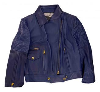 Saint Laurent Blue Leather Jackets