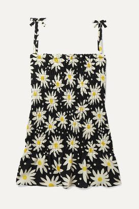 Solid & Striped Kids - Shirred Floral-print Crepe De Chine Dress - Black