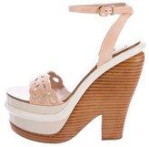 Nina Ricci Glazed Snakeskin-Trimmed Platform Sandals