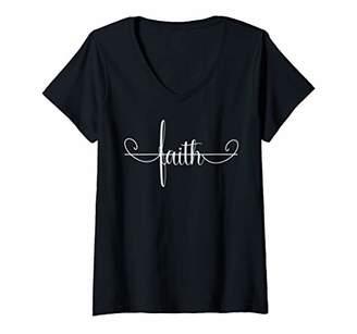 Womens Blessed by Jesus Love the Cross have Faith Tops Cross Faith V-Neck T-Shirt