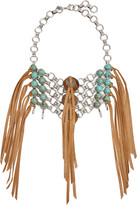 Dannijo Ipsa Oxidized Silver-plated, Bead And Suede Necklace - one size