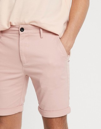 Topman skinny chino shorts in pink