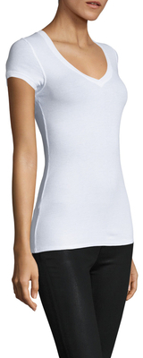 BCBGMAXAZRIA Ribbed V-Neck Top