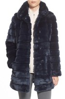 Eliza J Grooved Faux Fur Coat (Regular & Petite)