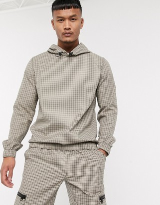 ASOS DESIGN co-ord woven hoodie in beige check