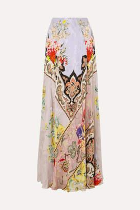 Etro Printed Crepe-jacquard Maxi Skirt - Lilac