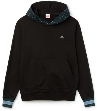 Lacoste Leopard Print Hooded Sweatshirt Black - X-Large - Black