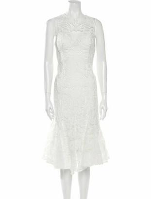 Thurley Lace Pattern Midi Length Dress White