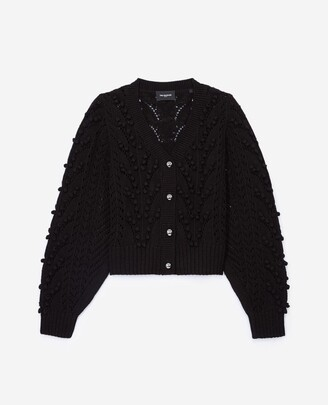 The Kooples Cropped black cable-knit cotton cardigan