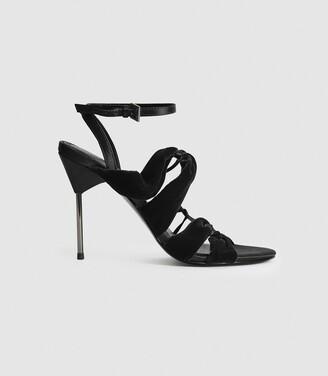 Reiss Monroe - Velvet Pin-heel Sandals in Black