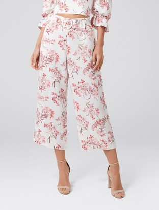 Forever New Vera Linen-Blend Belted Pants - Tropical Flowers - 4