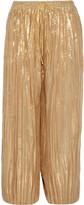 ADAM by Adam Lippes Cropped plissé silk-blend lamé wide-leg pants