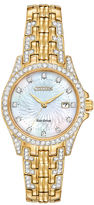 Citizen Eco-Drive Silhouette Womens Crystal-Accent Gold-Tone Stainless Steel Bracelet Watch EW1222-84D
