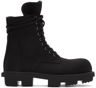 Rick Owens Black Bozo Megatooth Lace-Up Boots