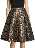 Eliza J Animal Print Pleated A-Line Skirt