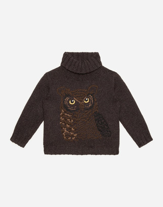 Dolce & Gabbana Wool And Cashmere Turtleneck With Owl Embroidery