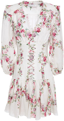 Zimmermann Honour Corset Lace-up Floral-print Linen Mini Dress