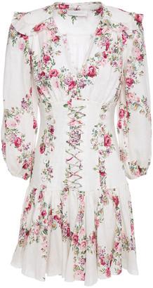 Zimmermann Lace-up Floral-print Linen Mini Dress