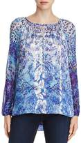 Elie Tahari Mariella Metallic Floral Print Peasant Blouse - 100% Exclusive