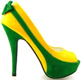 Show Story Sexy Two Tone Green Bow Peep Toe Platform Shoes,LF30407YL38,7US