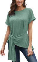 Te.Crew By Zesica TE.CREW by Zesica Women's Blouses Green - Green Tie-Waist Short-Sleeve Top - Women