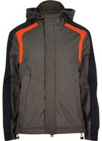 River Island MensGrey Lou Dalton textured panel jacket