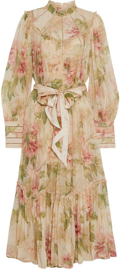 Zimmermann Espionage Swing Lace-trimmed Floral-print Silk-georgette Midi Dress