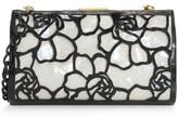 Nancy Gonzalez Colette Woven Floral Crocodile & Mother-of-Pearl Frame Clutch