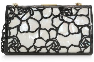 Nancy Gonzalez Colette Woven Floral Crocodile & Mother-of-Pearl Frame Clutch