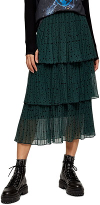 Topshop Star Tiered Pleated Midi Skirt