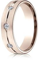 Ice 0.18 CT 14K Rose Gold 6mm Comfort-Fit Etched 3-Stone Channel Diamond Ring