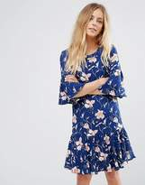 Vila Floral Print Flute Sleeve Dress