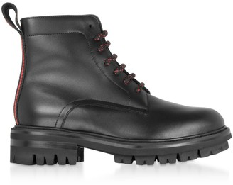 DSQUARED2 Signature Black Leather Combat Boots