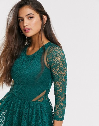 Abercrombie & Fitch lace skater dress in green