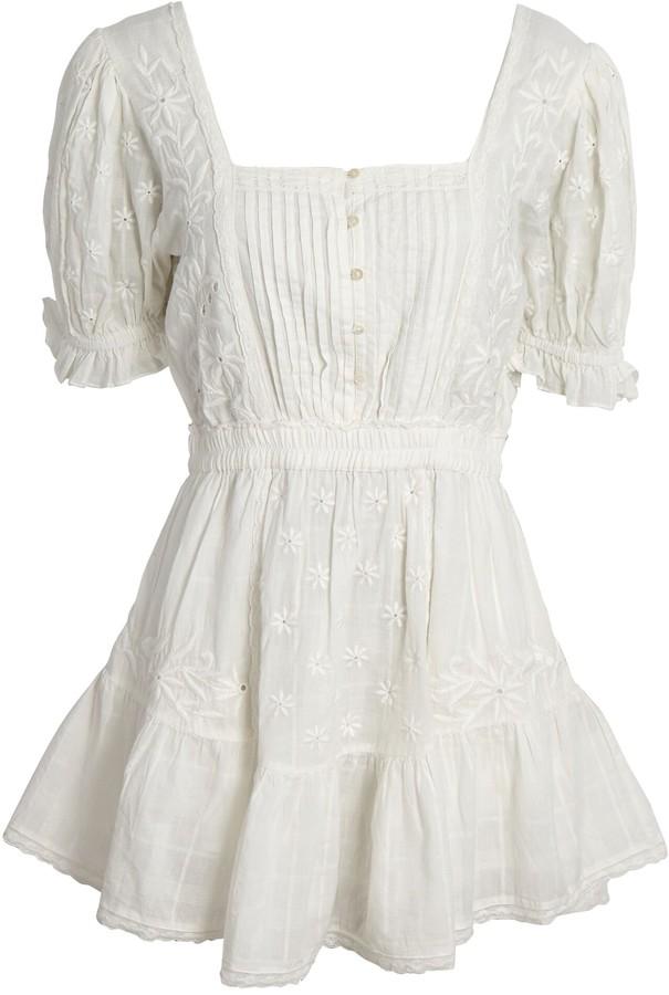 LoveShackFancy Tomasina Puff Sleeve Cotton Mini Dress