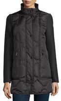 Moncler Theodora Quilted Puffer Coat w/Shearling Hood, Black