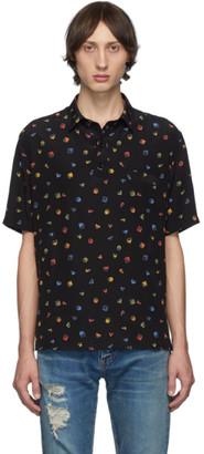 Saint Laurent Black Gommettes Short Sleeve Shirt