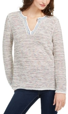 Style&Co. Style & Co Petite Split-Neck Melange Sweater, Created for Macy's