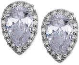 Nina Silver-Tone Crystal Shield Stud Earrings