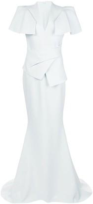 Safiyaa Mirama folded peplum gown