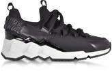 Pierre Hardy Trek Comet Black Neoprene and Leather Sneaker