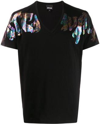 Just Cavalli V-neck iridescent logo T-shirt