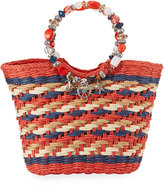 Cappelli Straworld Beaded Ring Striped Straw Tote Bag, Red
