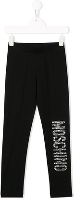 MOSCHINO BAMBINO TEEN embellished logo leggings