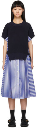 Sacai Navy Striped Knit Panel Dress